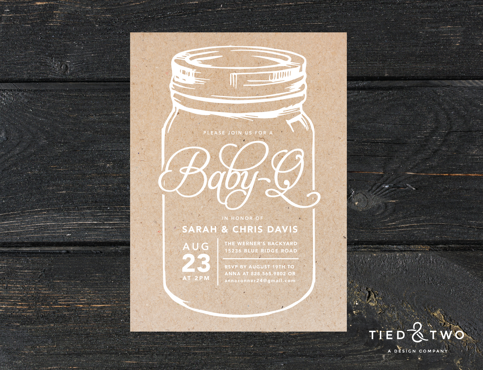 Baby Q Mason Jar Baby Shower Invitation