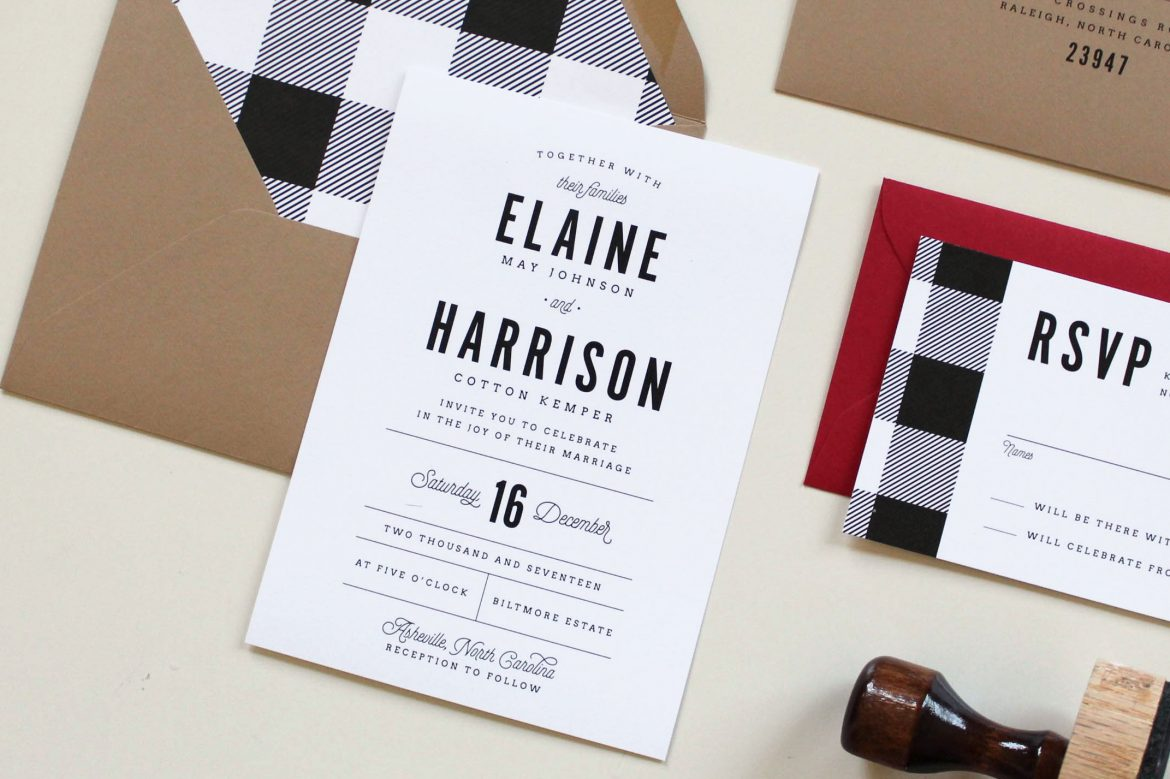 Buffalo Check Wedding Invitations Tied Two
