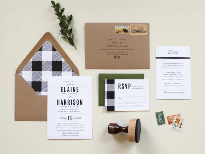 Winter Spirit | Buffalo Check Wedding Invitations