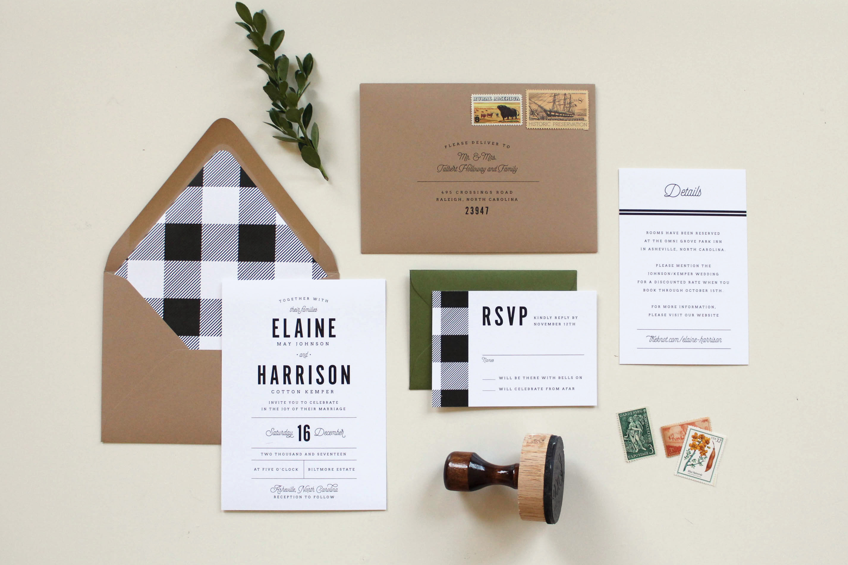 buffalo plaid gingham modern rustic wedding invitations tied two