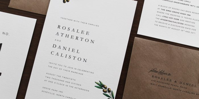 Traditional Olive Branch Wedding Invitation Suite