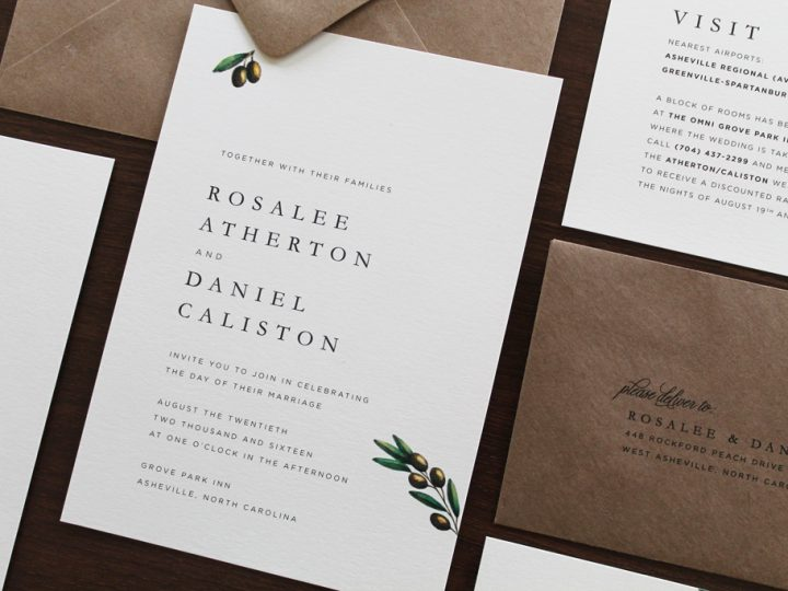 Traditional Olive Branch Wedding Invitation
