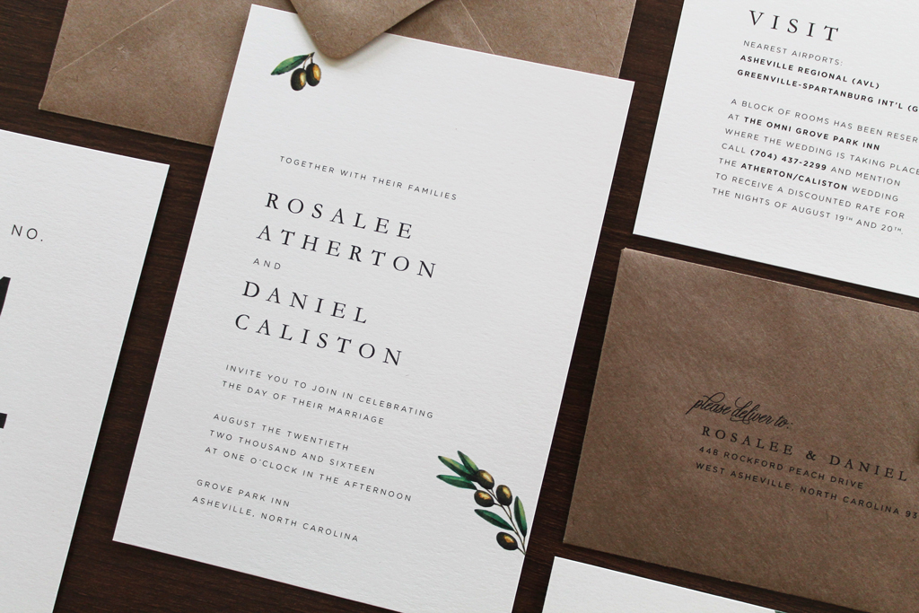 Traditional Olive Branch Wedding Invitation Tied Two