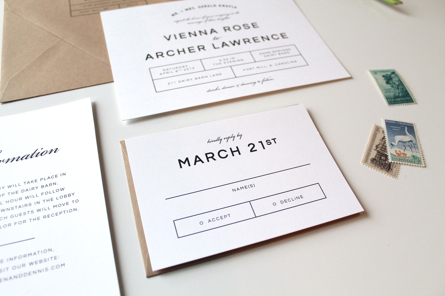 custom wedding invitation augusta - Modern Wedding Invitations