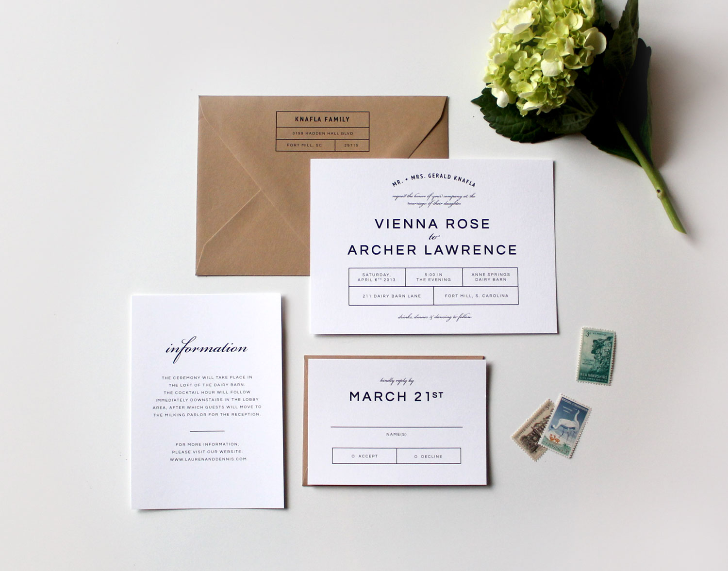 Modern Wedding Invitations | Tied & Two