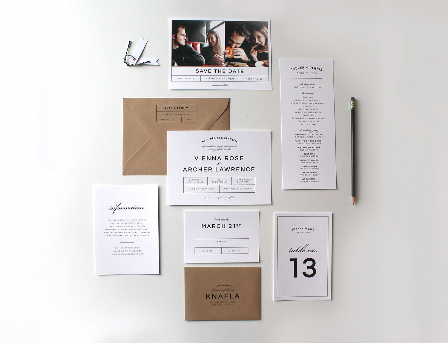 Modern wedding invitations tied two for Wedding invitation suite what to include
