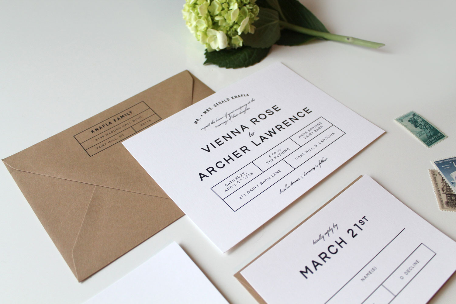 modern wedding invitations tied two