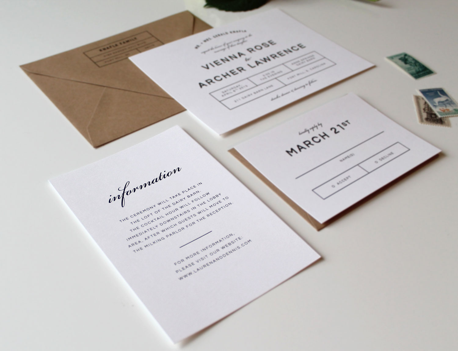 Bold Modern Wedding Invitation Suite Tied Two