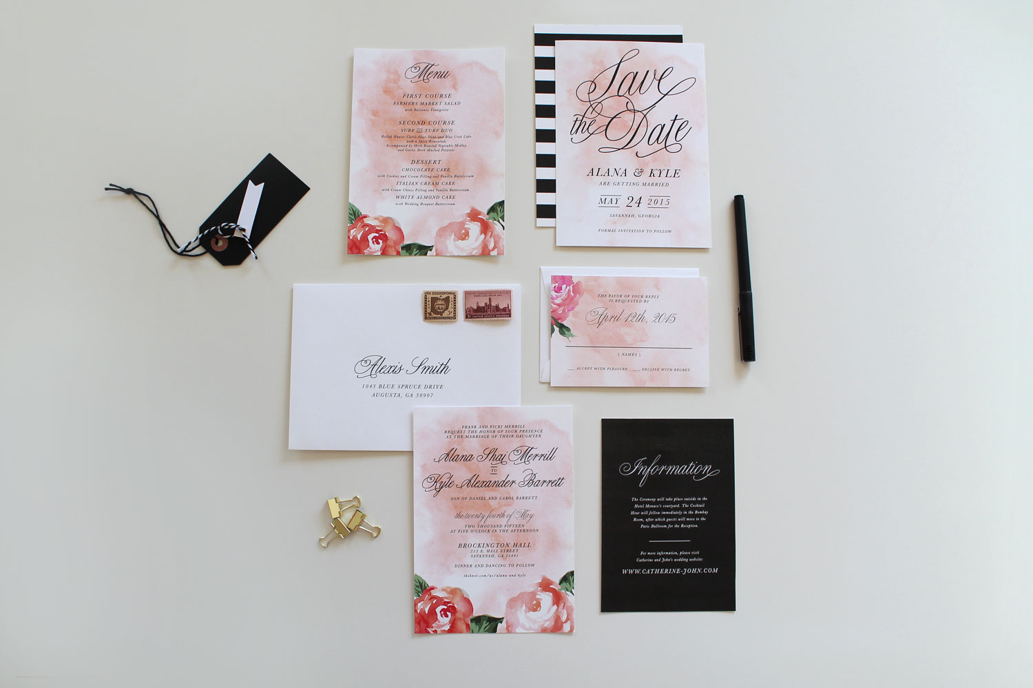 Modern Wedding Invitations Charlotte Nc Tied Two