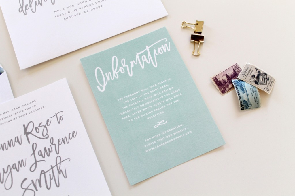Calligraphy Wedding Invitation Suite Tied Two