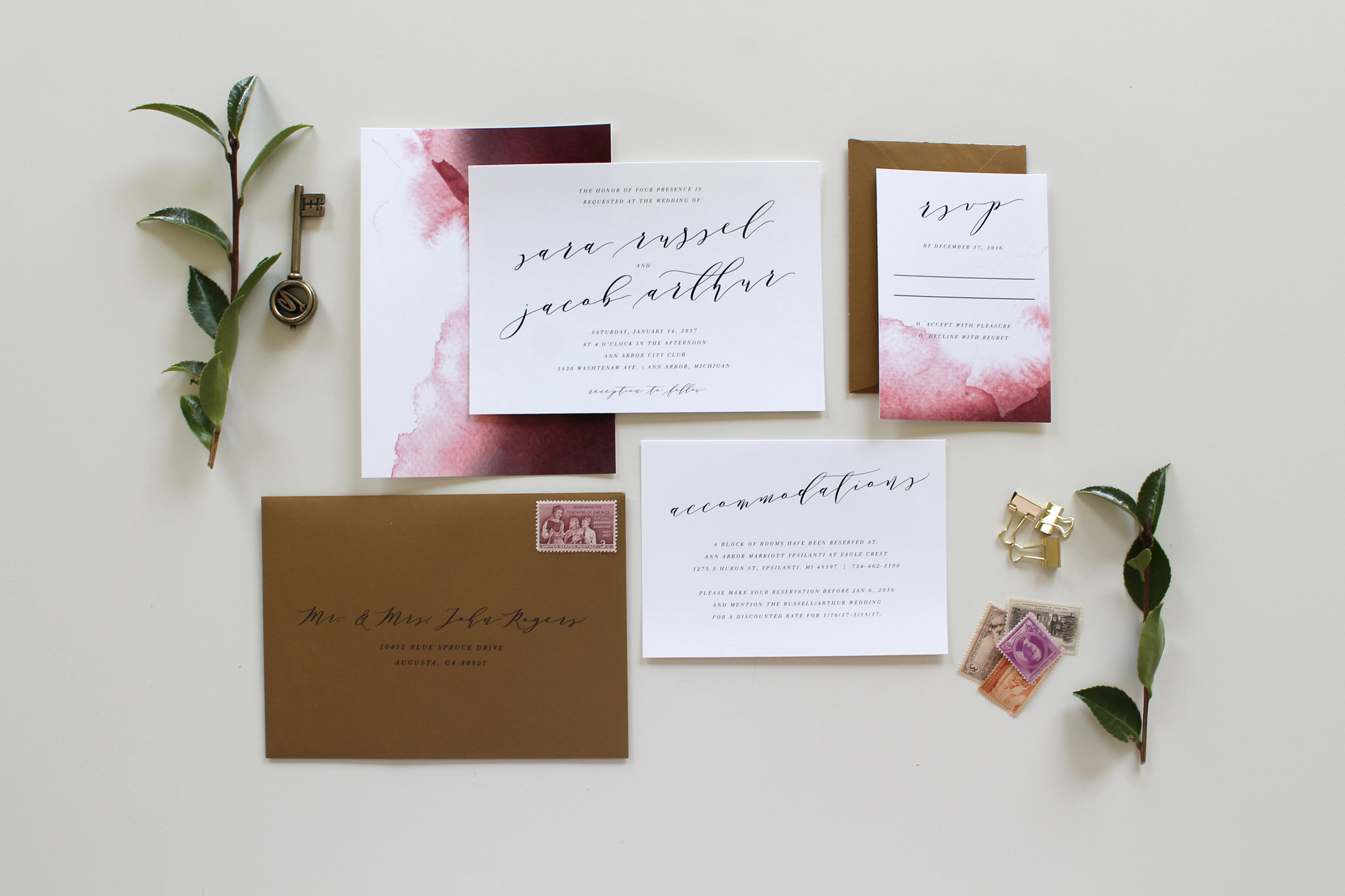 Custom Calligraphy Wedding Invitation Suite | Tied & Two