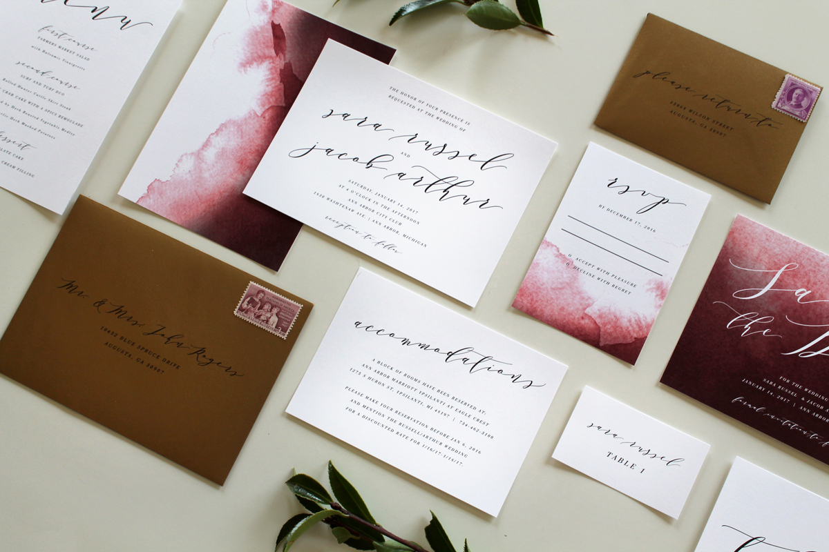 Modern Calligraphy Wedding Invitations Matik For