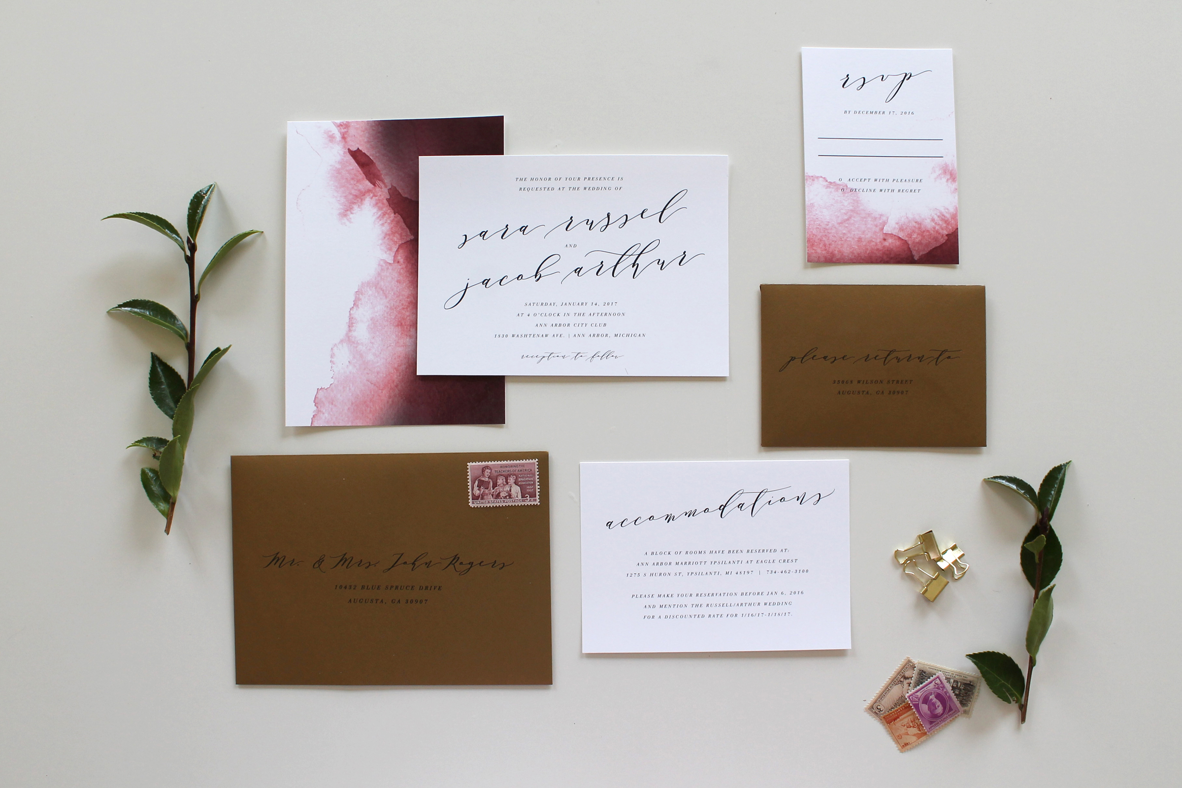 Custom Calligraphy Wedding Invitation Suite Tied Two