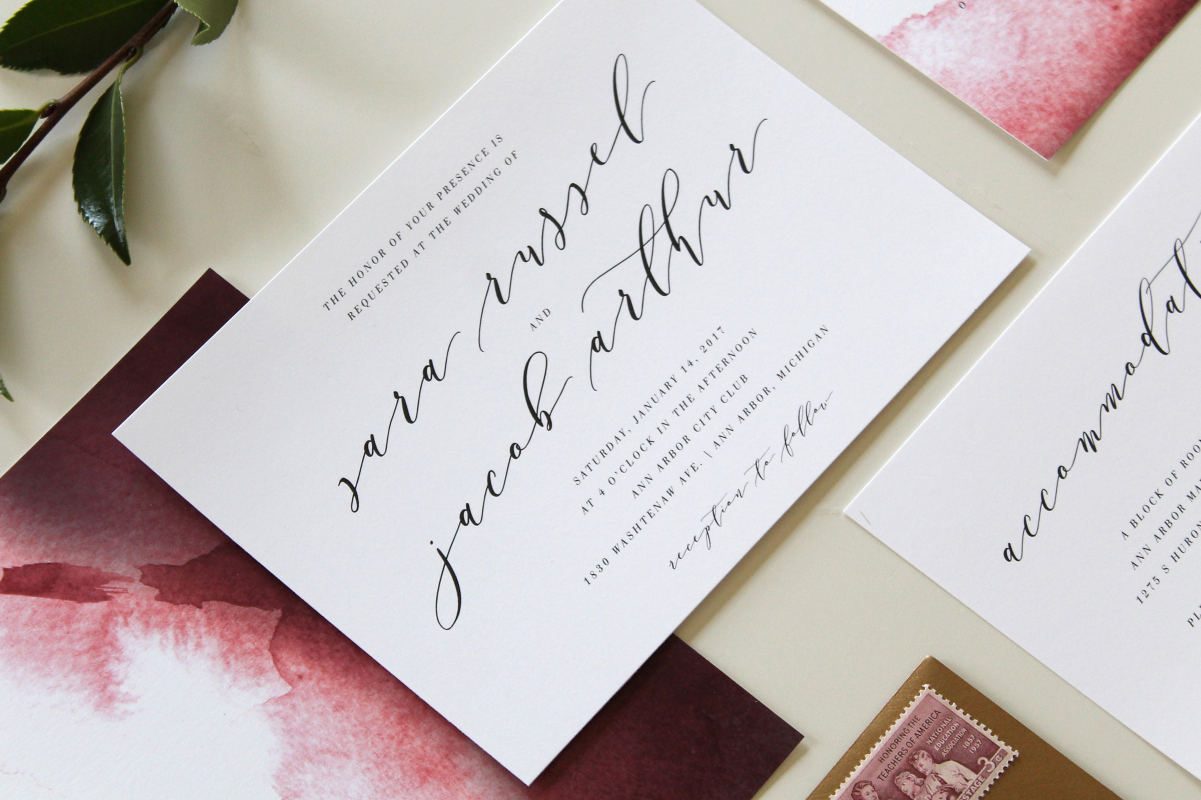 Calligraphy Wedding Invitations in Augusta Georgia | Tied & Two
