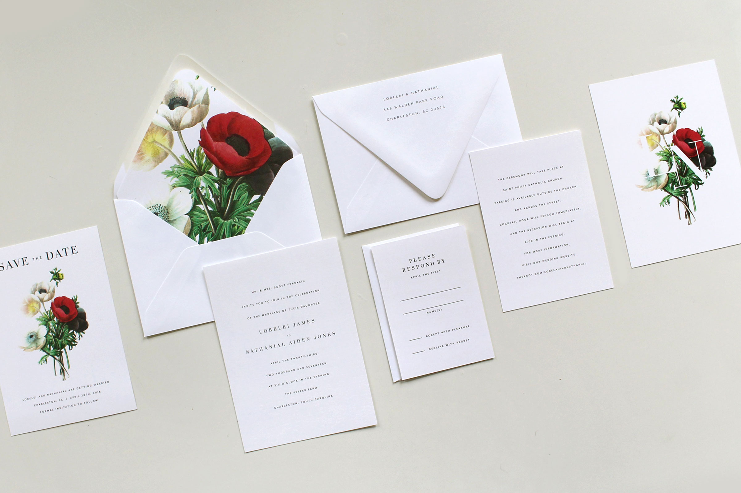 Simple Botanical Wedding Invitation Suite   Tied & Two