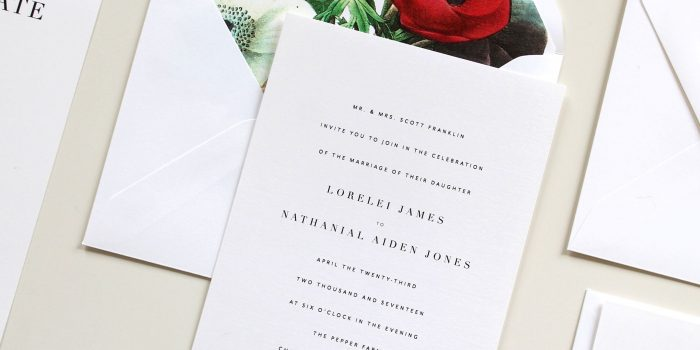 Simple Botanical Wedding Invitation Suite