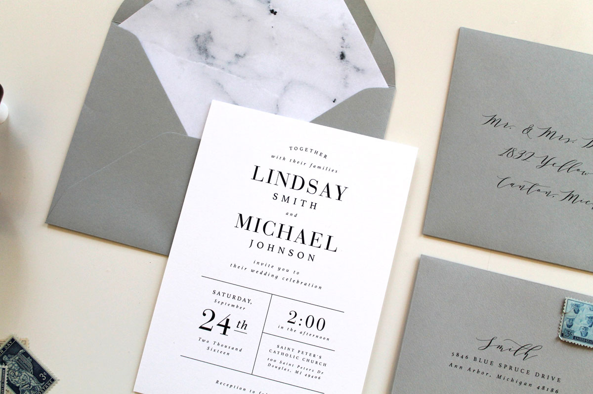Modern Marble Wedding Invitations Tied Two