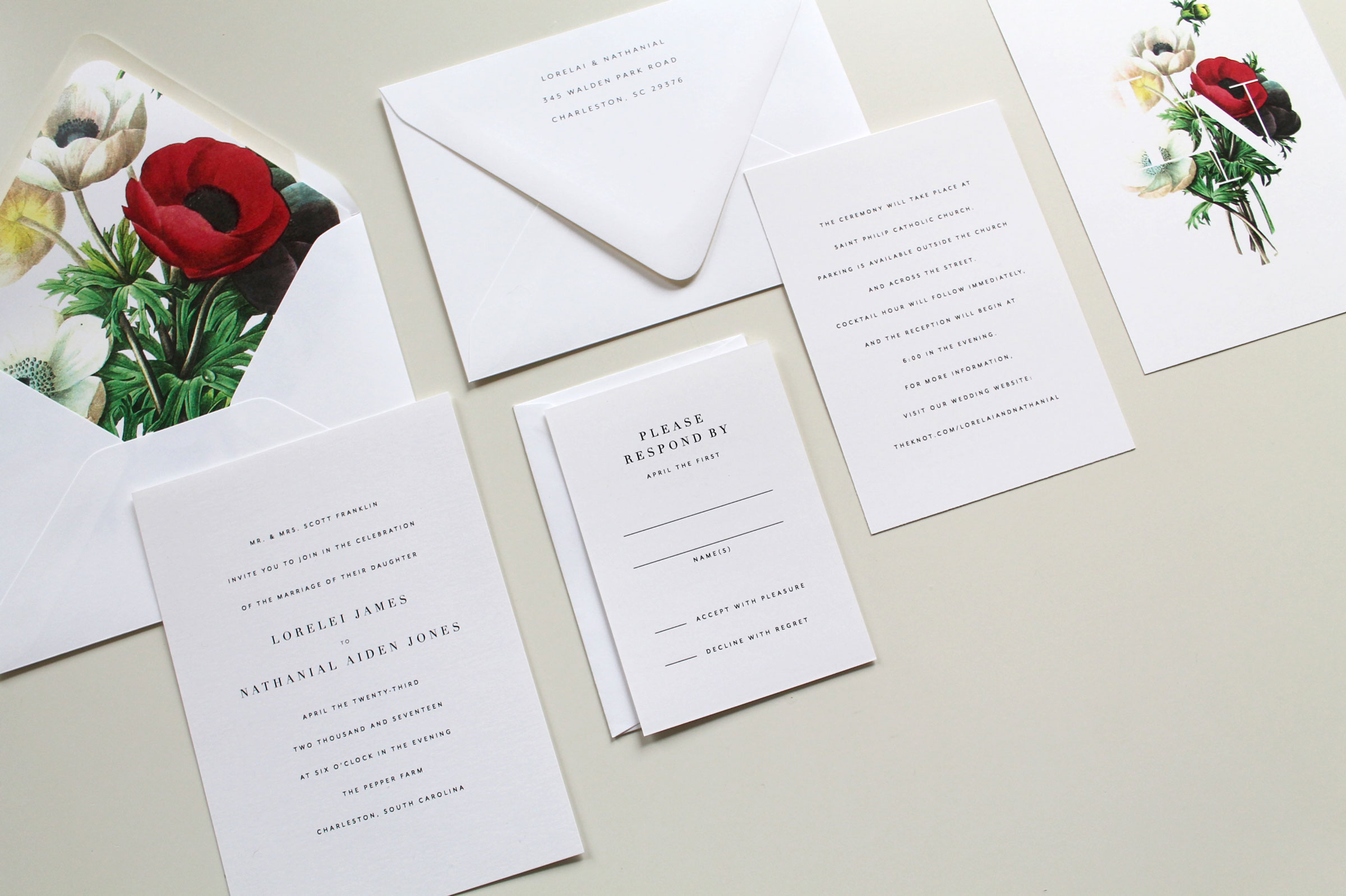 Simple Botanical Wedding Invitation Suite | Tied & Two