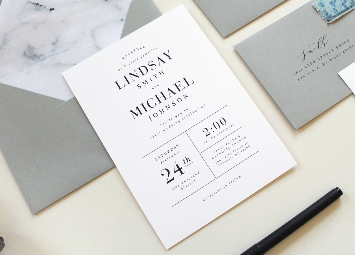 Modern Marble Wedding Invitations Tied Amp Two