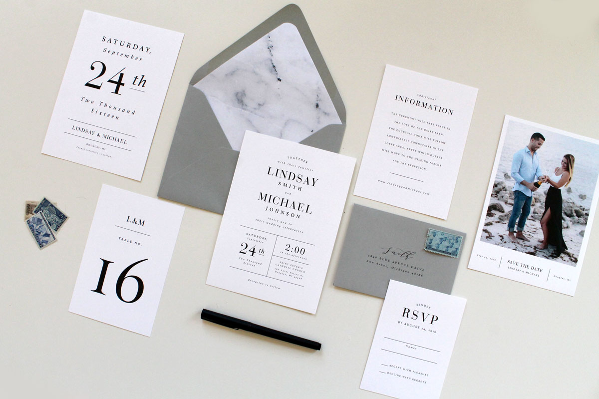Modern Marble Wedding Invitations | Tied & Two