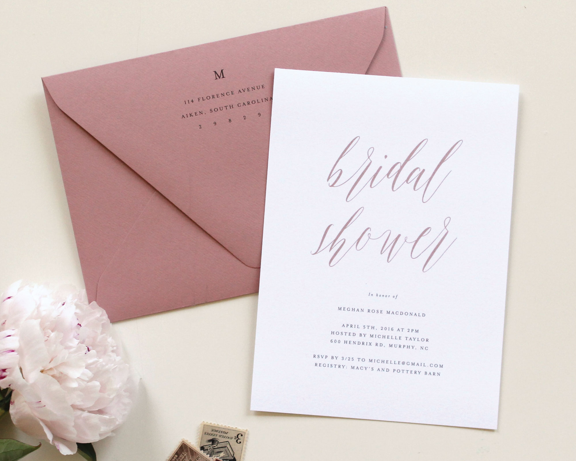 Dusty Rose Wedding Invitations | Tied & Two