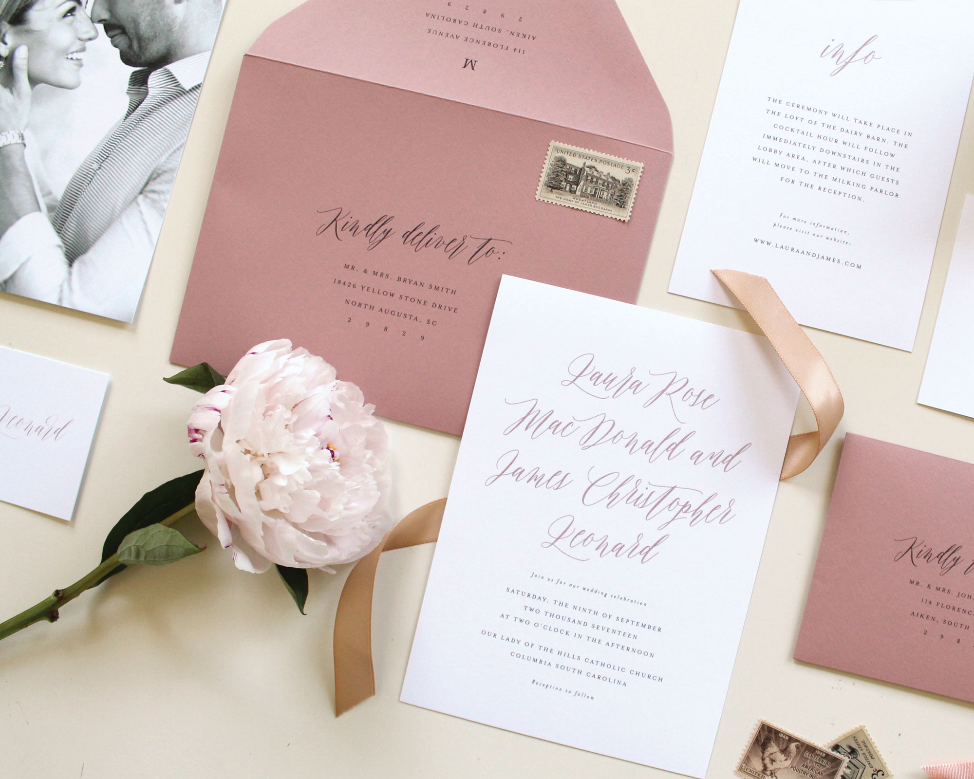 Mauve Wedding Invitations | Tied & Two