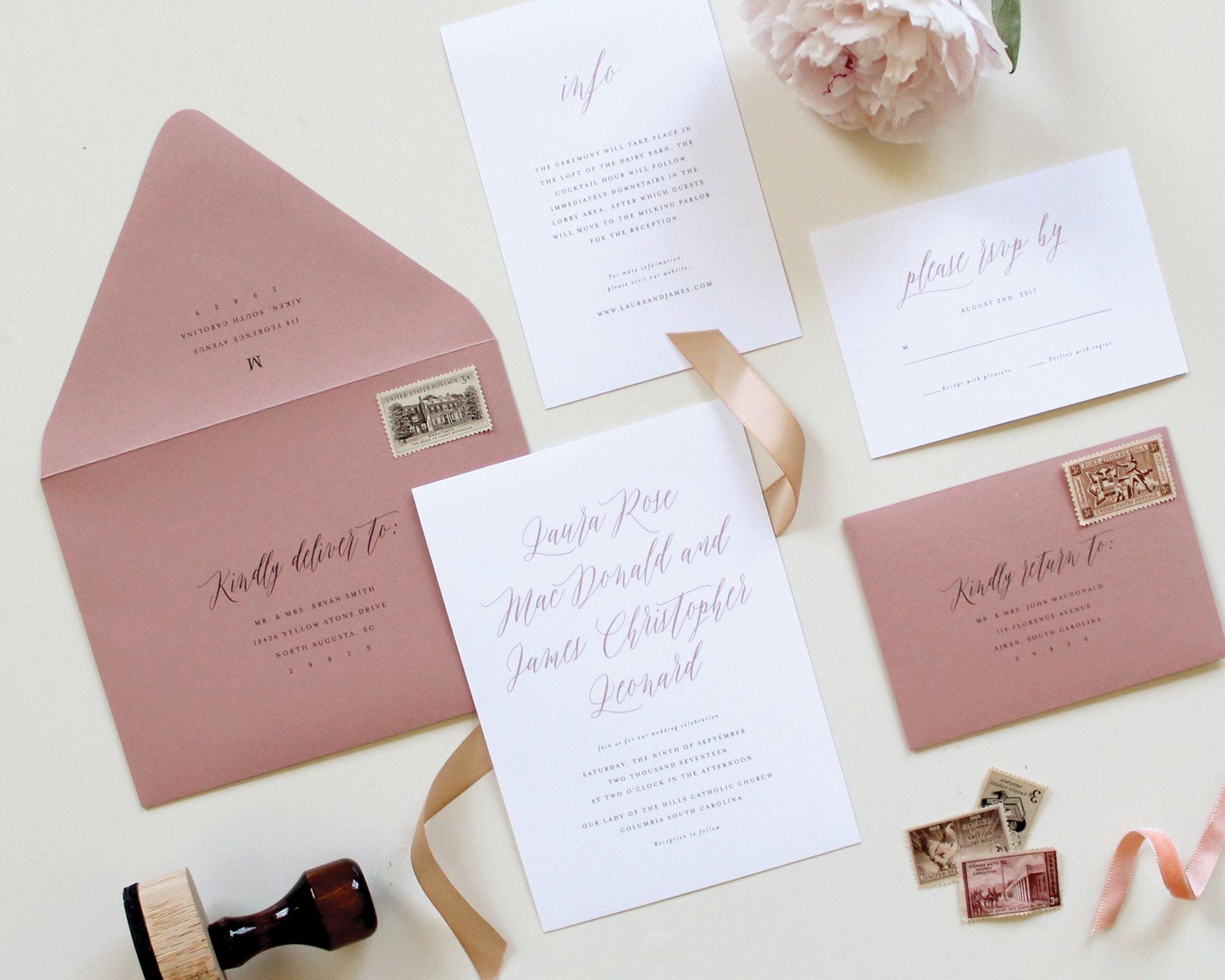 Dusty Rose/Mauve Wedding Insert Card
