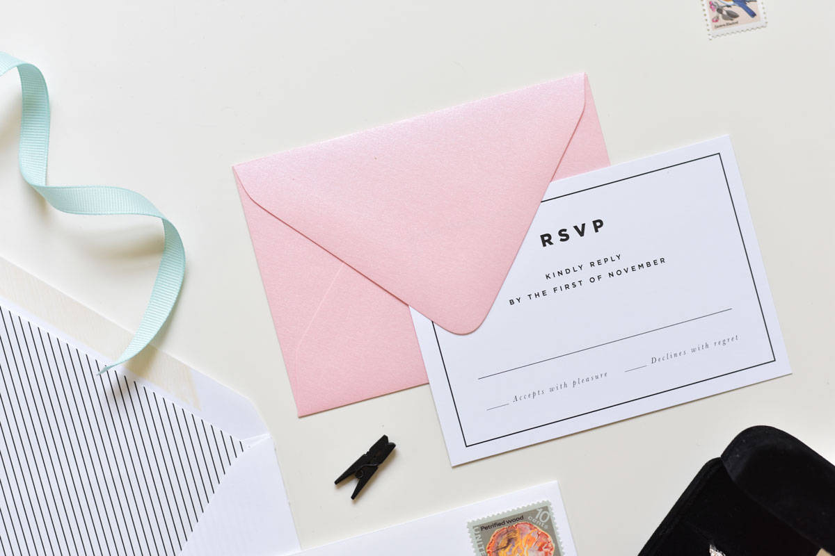 Clean Simple Modern Striped Wedding Invitations Tied Two