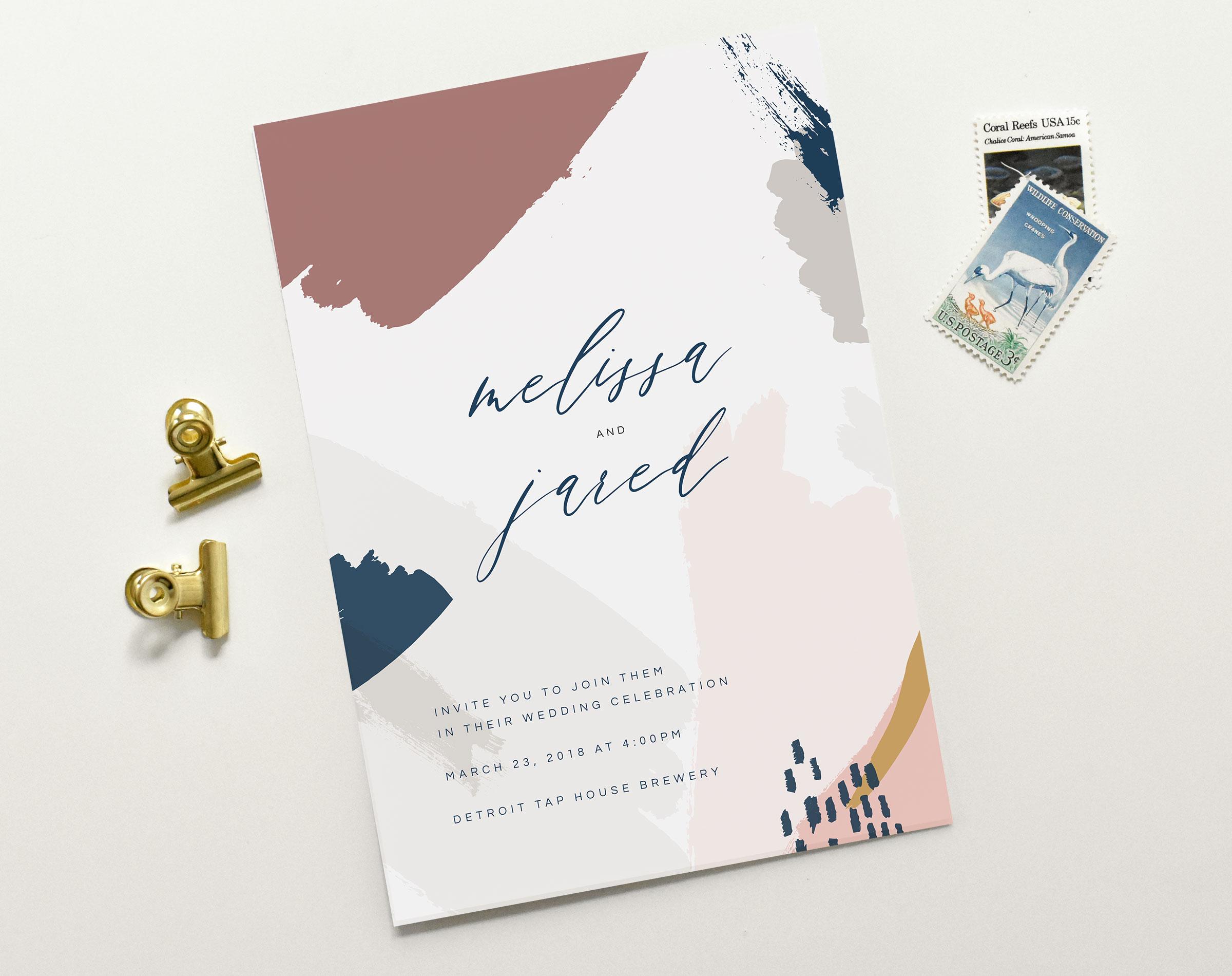 Wedding Invitations Charlotte | Brush Stroke Invitation Set | Tied & Two