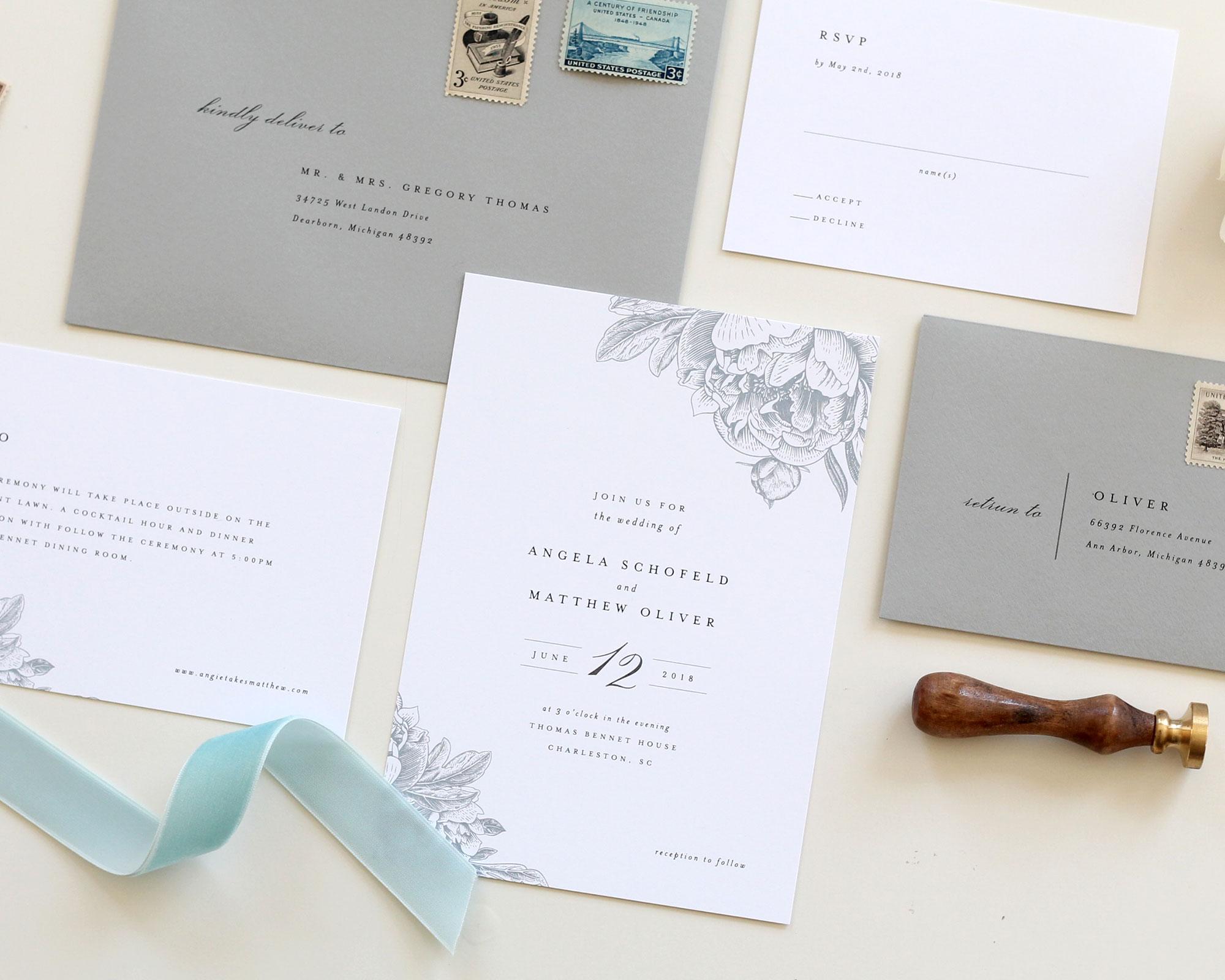 Dusty Blue Wedding Invitations   Charlotte Wedding Invitations ...