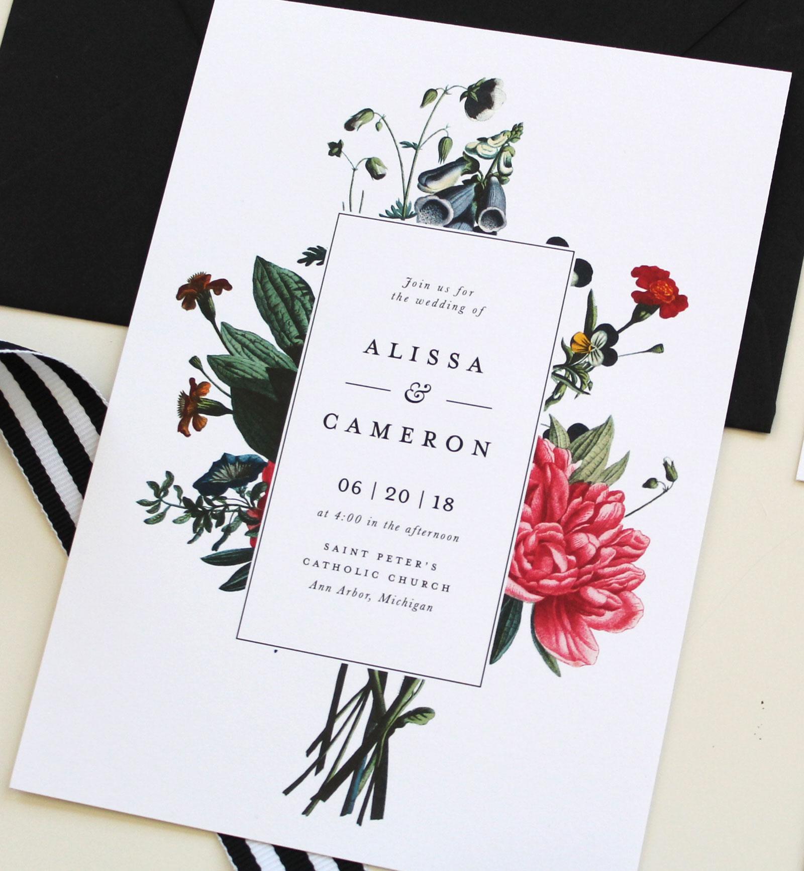 Modern Botanical Wedding Invitations Tied Two