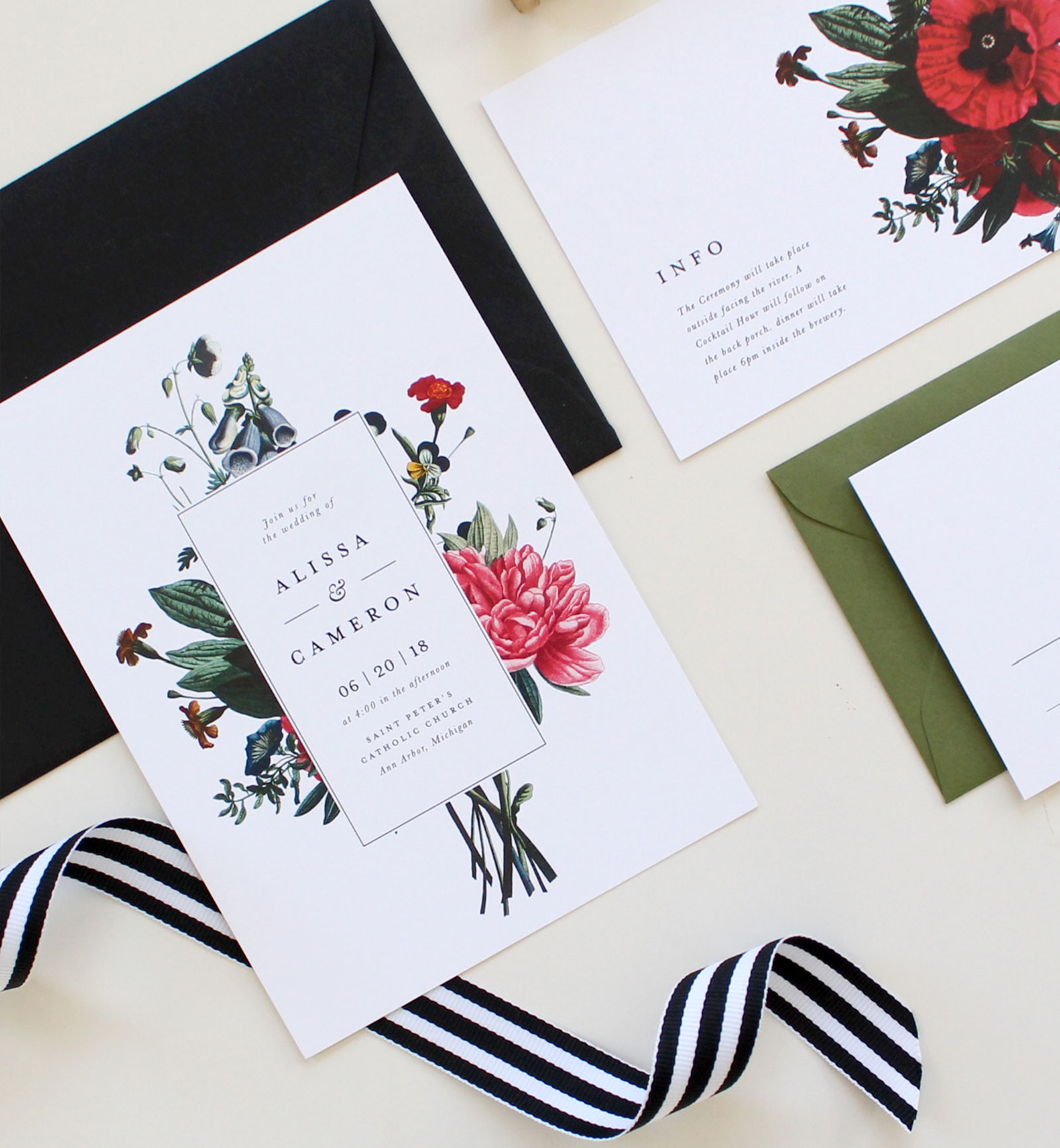 Modern Botanical Wedding Invitations | Tied & Two