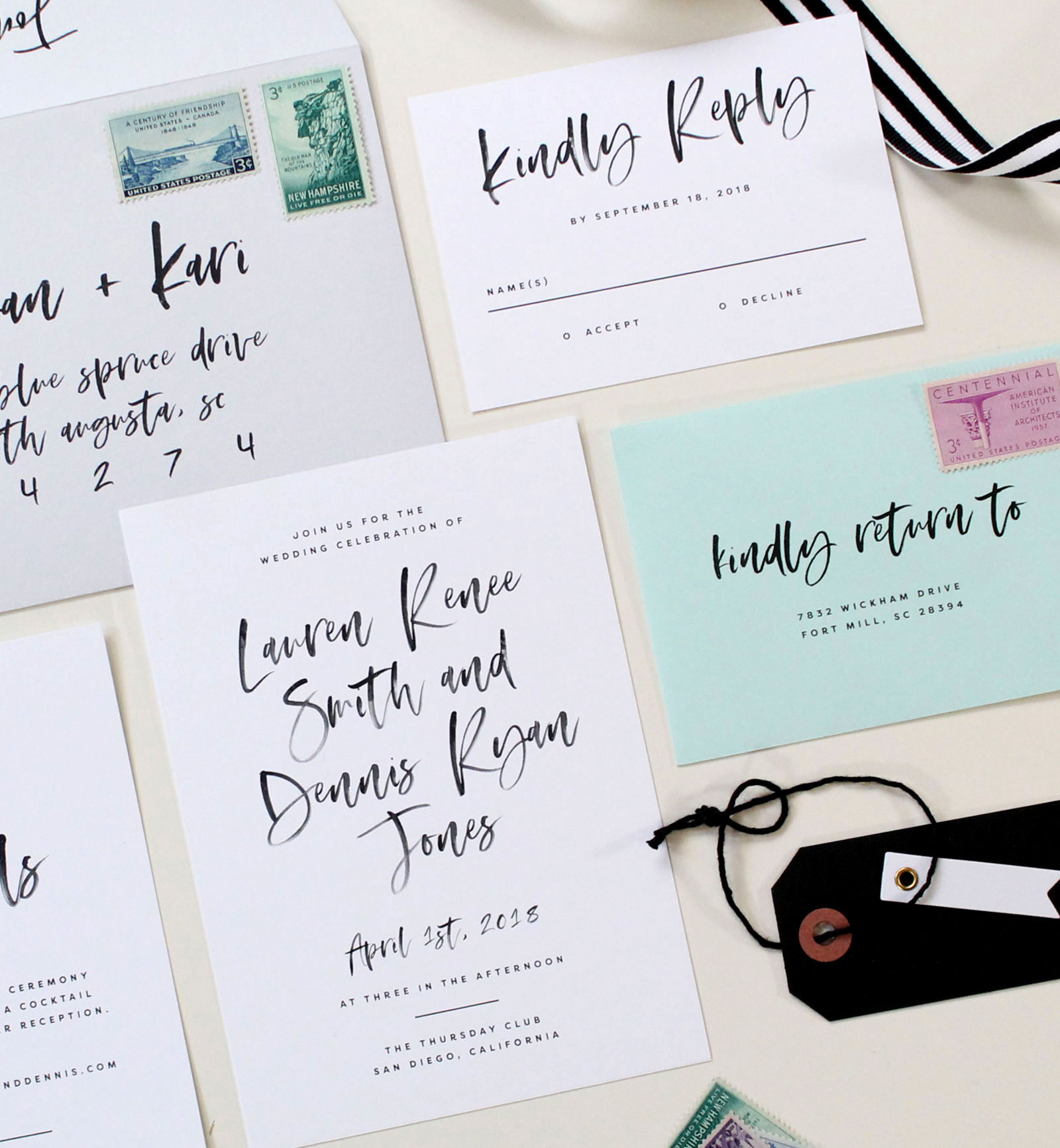 Watercolor Calligraphy Wedding Invitations | Tied & Two
